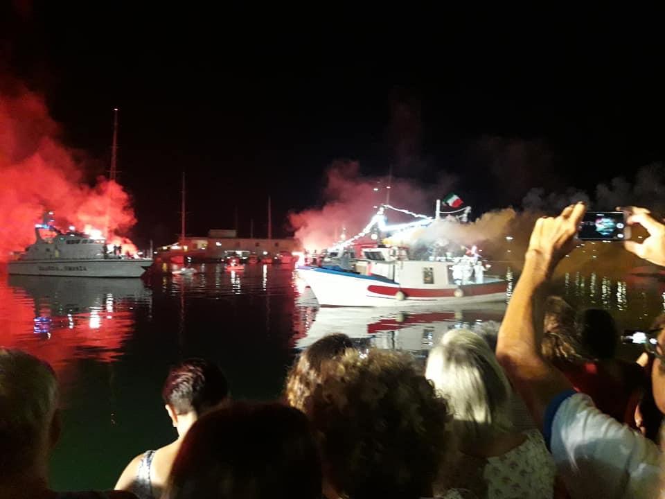 13 Agosto 2018 – Sbarco della Madonna di Trapani al porto peschereccio